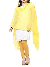 Light Yellow Chiffon Plain  Dupatta - By