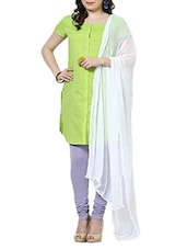 White Chiffon Plain  Dupatta - By