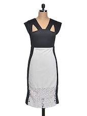 Knee Length V Neck Dress - AFAMADO