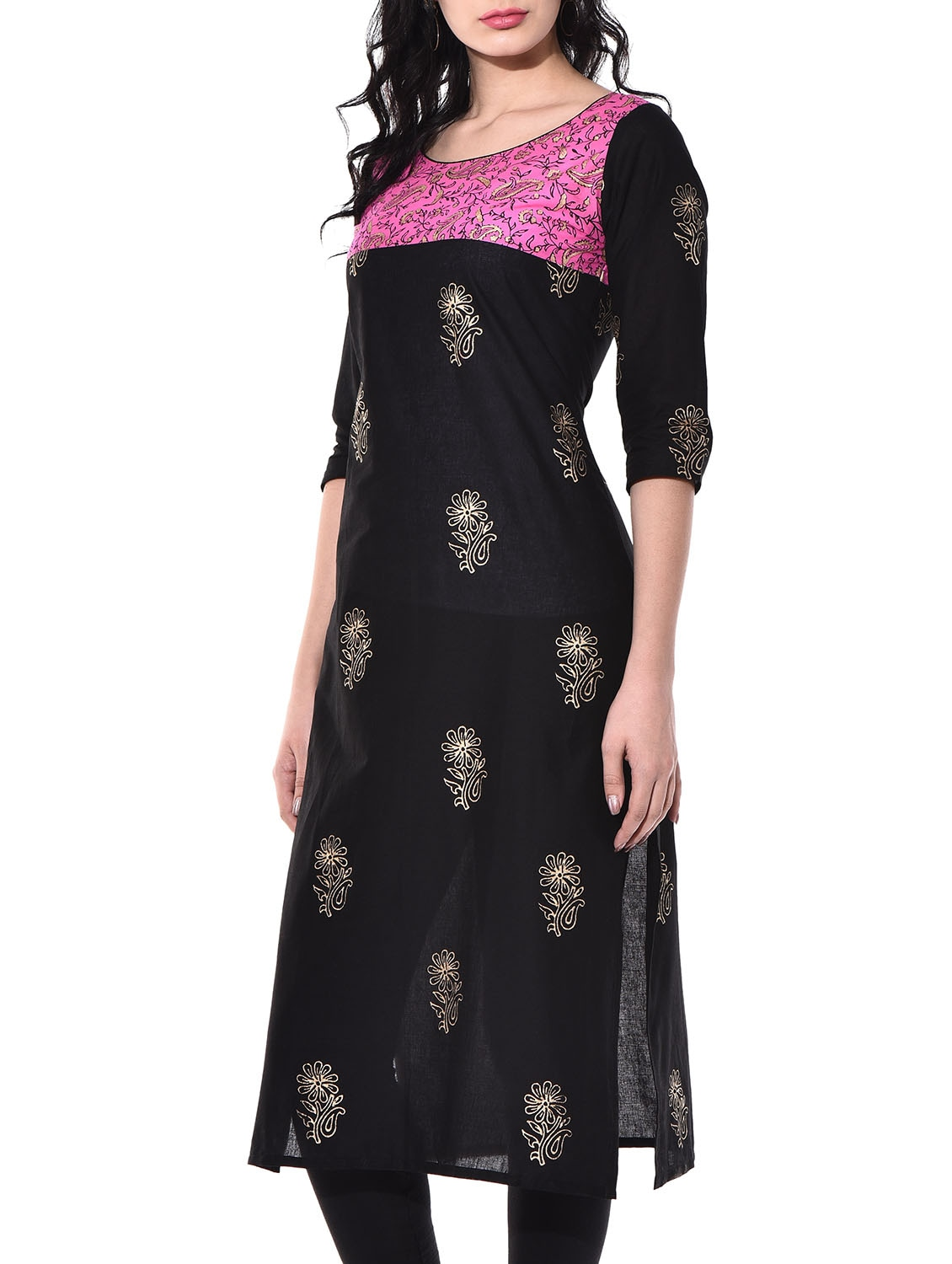 3da926f0134e Buy Black Cotton Straight Kurta for Women from Riya for ₹469 at 57% off |  2019 Limeroad.com