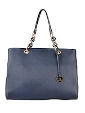Gorgeous Navy Blue Chain Detailed Tote - Diana Korr