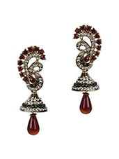 Multicolour Metal Alloy With Stones Earrings - Fashionography