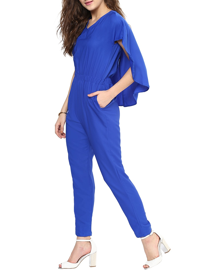 3c7712fdf4a7 Buy Blue Solid Cap Sleeve Jumpsuit by Uptownie Lite - Online shopping for  Jumpsuits in India