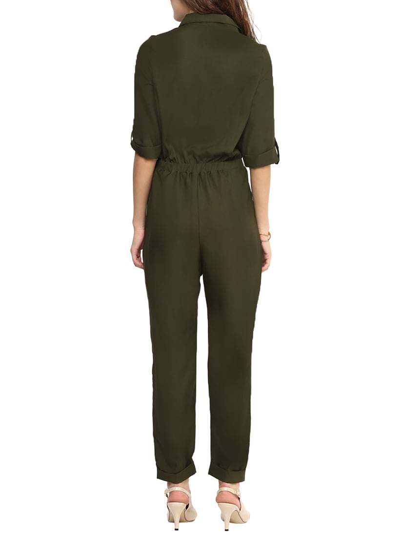 6d1e0cb74b6 Buy Green Solid Collared Jumpsuit for Women from Uptownie Lite for ₹1132 at  40% off