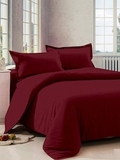 Dreamscape 100% Cotton 220TC Red  Sateen Stripe Double Bedsheet with 2 pillow covers -  online shopping for bed sheet sets