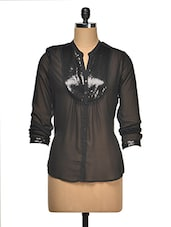 Sequined Front Yoke Georgette Top - Wildrose