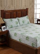 Floral Print White Cotton Bed Linen Set - Ratan Jaipur