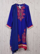 Blue Georgette Embroidered Semi Stitched Suit - TII