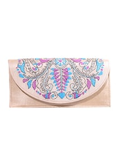 Cream Kantha Embroidered Fabric Sling Bag - By