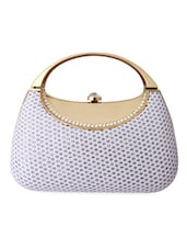 Crystal Embellished White Clutch With Handle - Super Drool