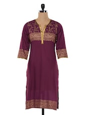 Maroon Quarter Sleeves Cotton Kurta - SHREE