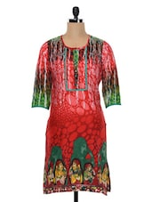 Red Quarter Sleeves Printed Cotton Kurta - SHREE