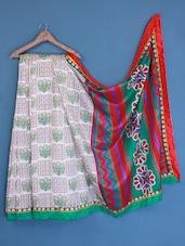 Chevron Print Pallu Printed Bhagalpuri Silk Saree - Varanga