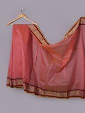 Pinlk Cotton Net Woven Border Saree - WEAVING ROOTS