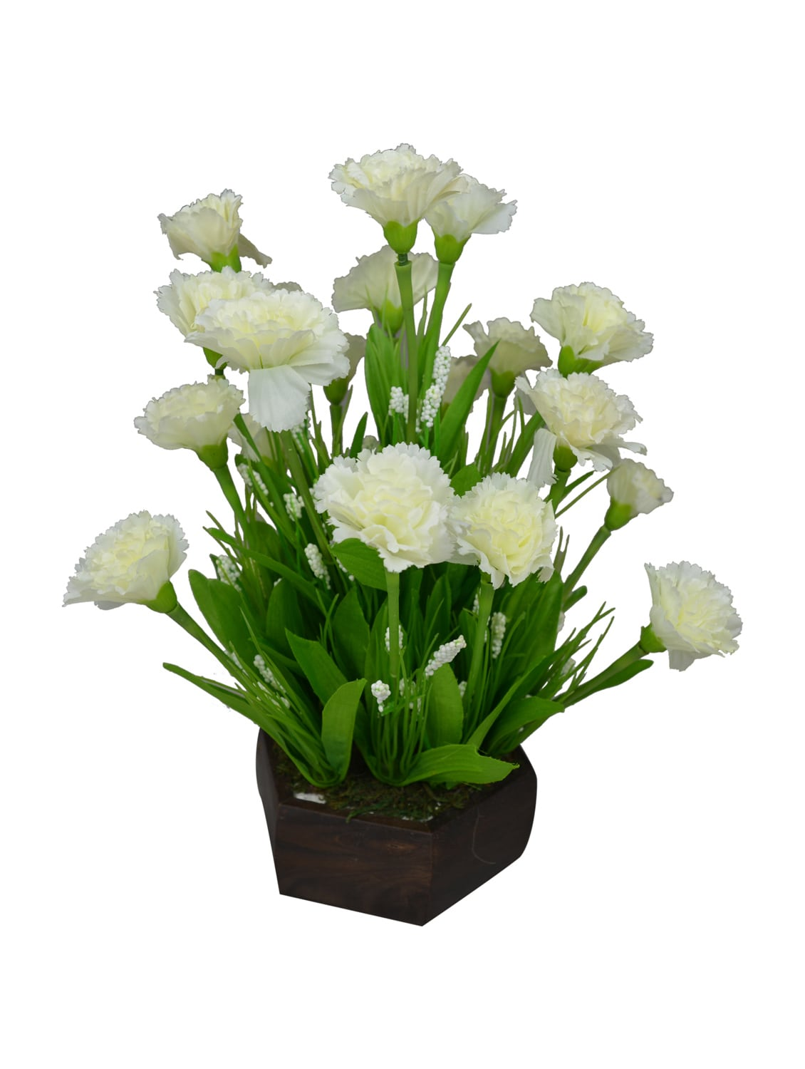 Buy Artificial Carnation Flower Arrangement With Wood Pot For