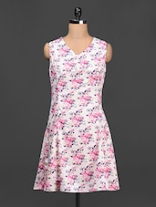 Floral Print V-neck Crepe Dress - LA ARISTA