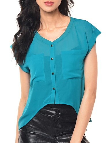 1db06eed21f90 Buy Faux Pearl Cold Shoulder Shirt by Kassually - Online shopping ...