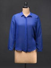 Royal Blue Georgette Shirt - TREND SHOP