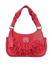 Red Ruffle Detailed Leather Shoulder Bag - Phive Rivers