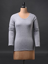 Grey Fullsleeve Cotton Tees - Fashionexpo