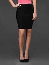 Black Plain Bodycon Skirt - Fashionexpo