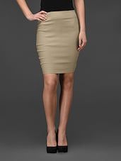 Plain Beige Plain Bodycon Skirt - Fashionexpo
