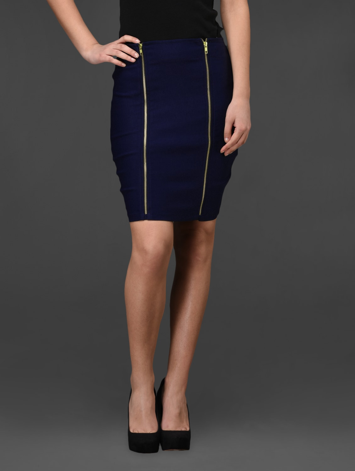 Blue Double Zip Front Bodycon Skirt - Fashionexpo