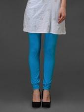 Turquoise Plain Cotton Leggings - Fashionexpo