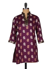 Cotton Purple Floral Print Kurti - Sutee