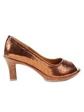 Shimmery Copper Peep-Toe Pumps - Marc Loire