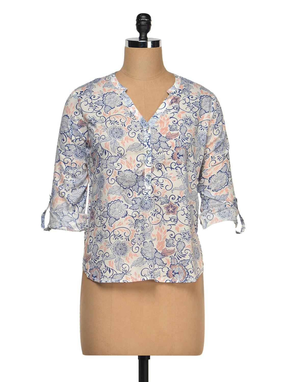 High Low Printed Shirt - Femella