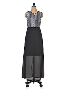 Printed Bodice Sleeveless Maxi Dress - Femella