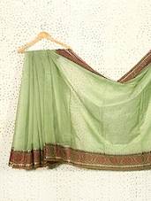Pistachio Green Art Silk And Cotton Banarasi Saree - Prabha Creations