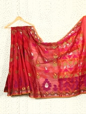 Maroon Art Silk And Zari Banarasi Saree - Prabha Creations