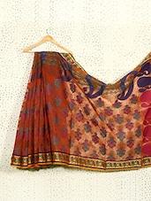 Rust Orange Jacquard Print Art Silk Saree - Prabha Creations
