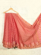 Dusky Pink Jacquard Art Silk And Cotton Saree - Prabha Creations