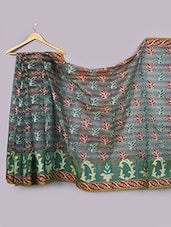 Blue And Green Cotton Saree - WEAVING ROOTS