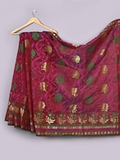 Maroon Floral Woven Cotton Silk Saree - WEAVING ROOTS
