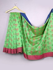 Parrot Green Floral Cotton Silk Saree - WEAVING ROOTS