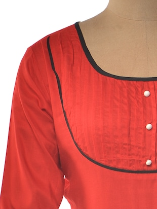 Red Color Rayon Pleated Kurta - 1023893 - Standard Image - 4