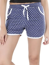 Polka Dots Printed Cotton Shorts - Nite Flite