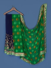 Midnight Blue And Green Georgette Saree - Anoha