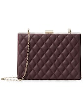 Brown Quilted Leatherette Sling Bag - Cappuccino