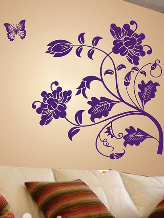 buy purple vine flower wall stickerwalldana - online shopping