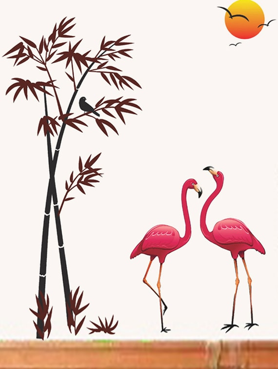 Pink Flamingos Bamboo At Sunset Wall Stickers By Walldana Online Ping For Decals In India 1024852