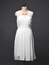 White Box Pleated Short Dress With Rhinestone Detail - Sugar Her