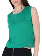 Green Knit Top With Zip Detail - Sugar Her