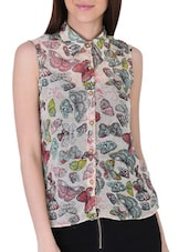 Butterfly Print Sleeveless Georgette Top - Sugar Her