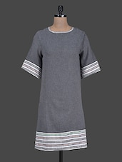 Grey Cotton  Shift Dress - Citypret