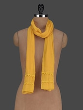Lace Trimmed Yellow Viscose Scarf - Citypret